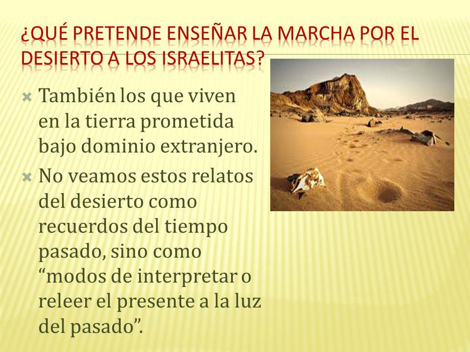 ¿Qué pretende enseñar la marcha por el desierto a los israelitas