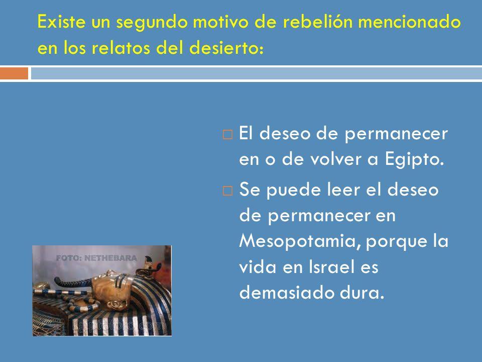 Existe un segundo motivo de rebelión mencionado en los relatos del desierto: