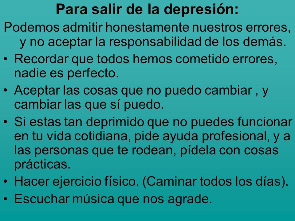 Para salir de la depresión: