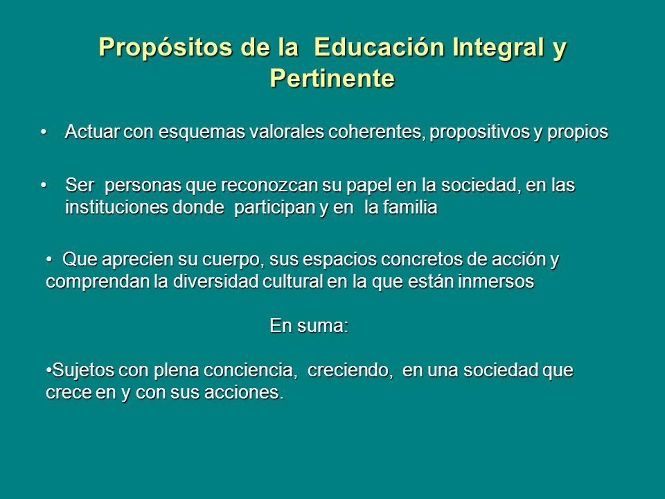 Propósitos de la Educación Integral y Pertinente