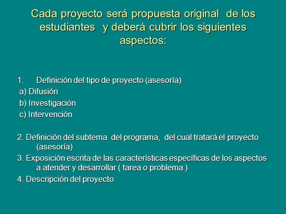 Cada proyecto será propuesta original de los estudiantes y deberá cubrir los siguientes aspectos: