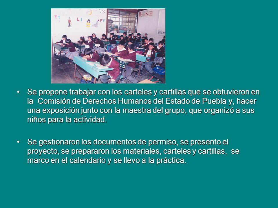 Se propone trabajar con los carteles y cartillas que se obtuvieron en la Comisión de Derechos Humanos del Estado de Puebla y, hacer una exposición junto con la maestra del grupo, que organizó a sus niños para la actividad.