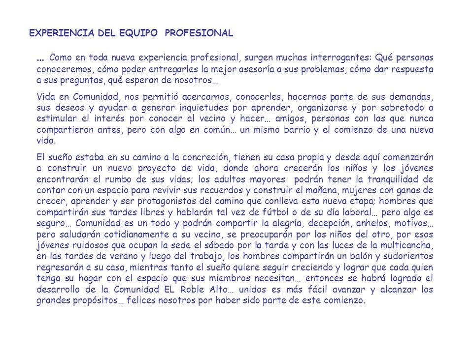 EXPERIENCIA DEL EQUIPO PROFESIONAL