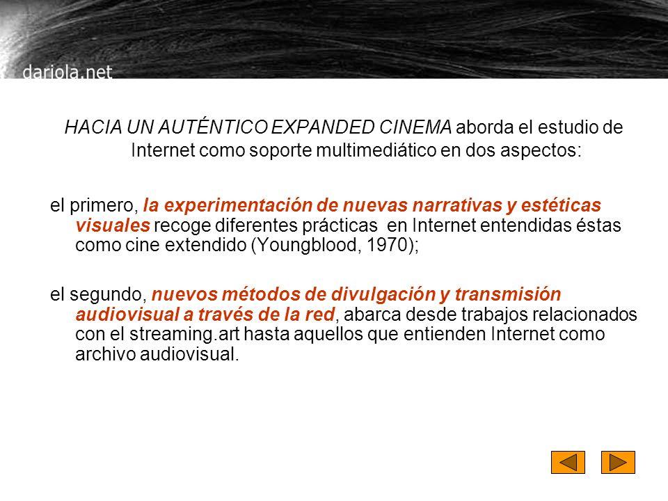 HACIA UN AUTÉNTICO EXPANDED CINEMA aborda el estudio de Internet como soporte multimediático en dos aspectos: