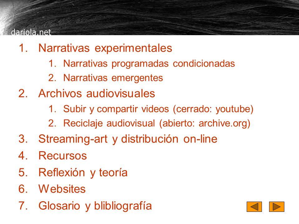 Contenidos de dariola Narrativas experimentales Archivos audiovisuales