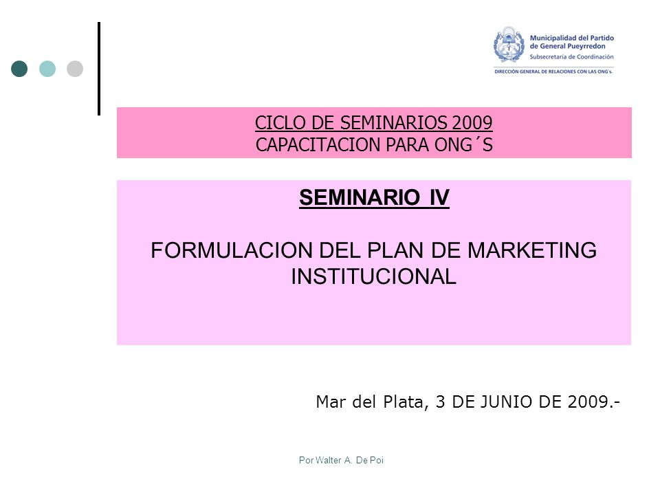 FORMULACION DEL PLAN DE MARKETING INSTITUCIONAL