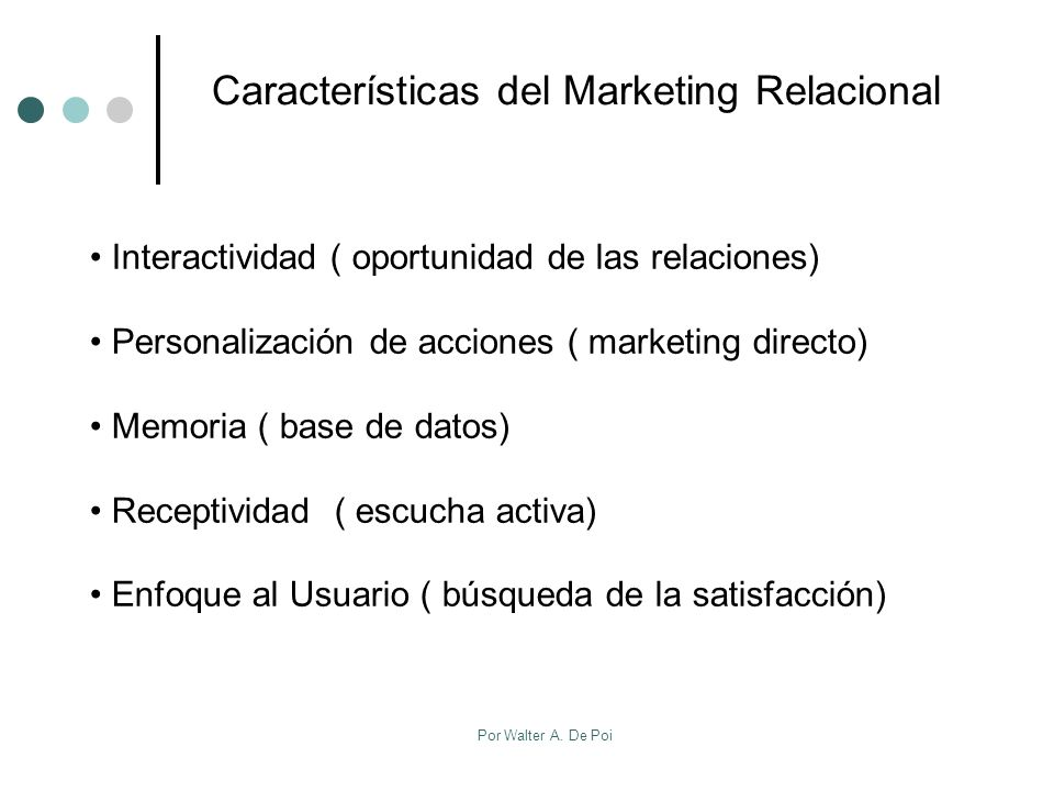 Características del Marketing Relacional