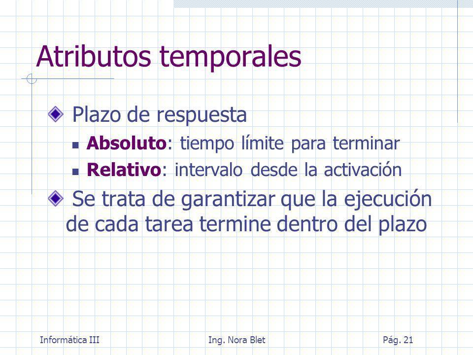 Atributos temporales Plazo de respuesta