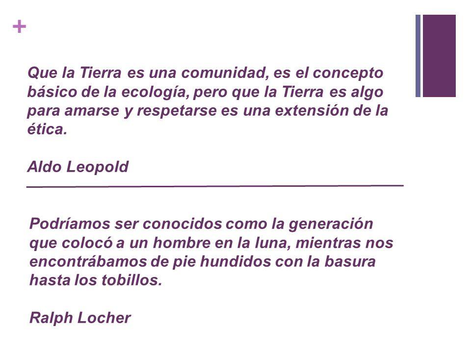 Que la Tierra es una comunidad, es el concepto básico de la ecología, pero que la Tierra es algo para amarse y respetarse es una extensión de la ética. Aldo Leopold