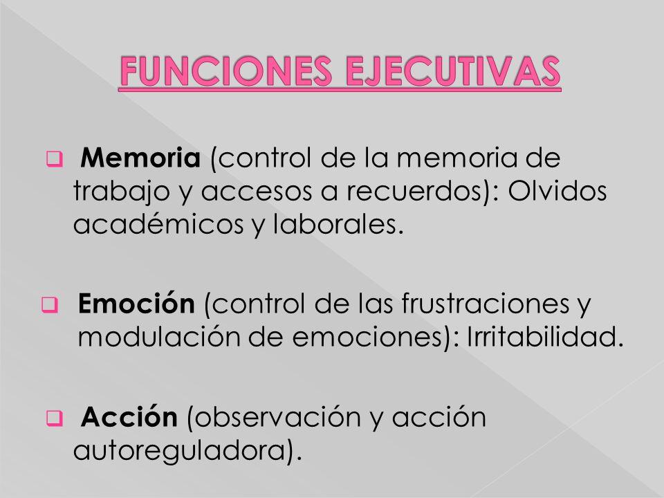 FUNCIONES EJECUTIVAS Memoria (control de la memoria de trabajo y accesos a recuerdos): Olvidos académicos y laborales.
