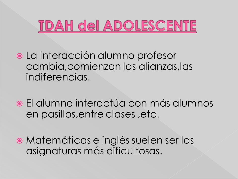 TDAH del ADOLESCENTE La interacción alumno profesor cambia,comienzan las alianzas,las indiferencias.
