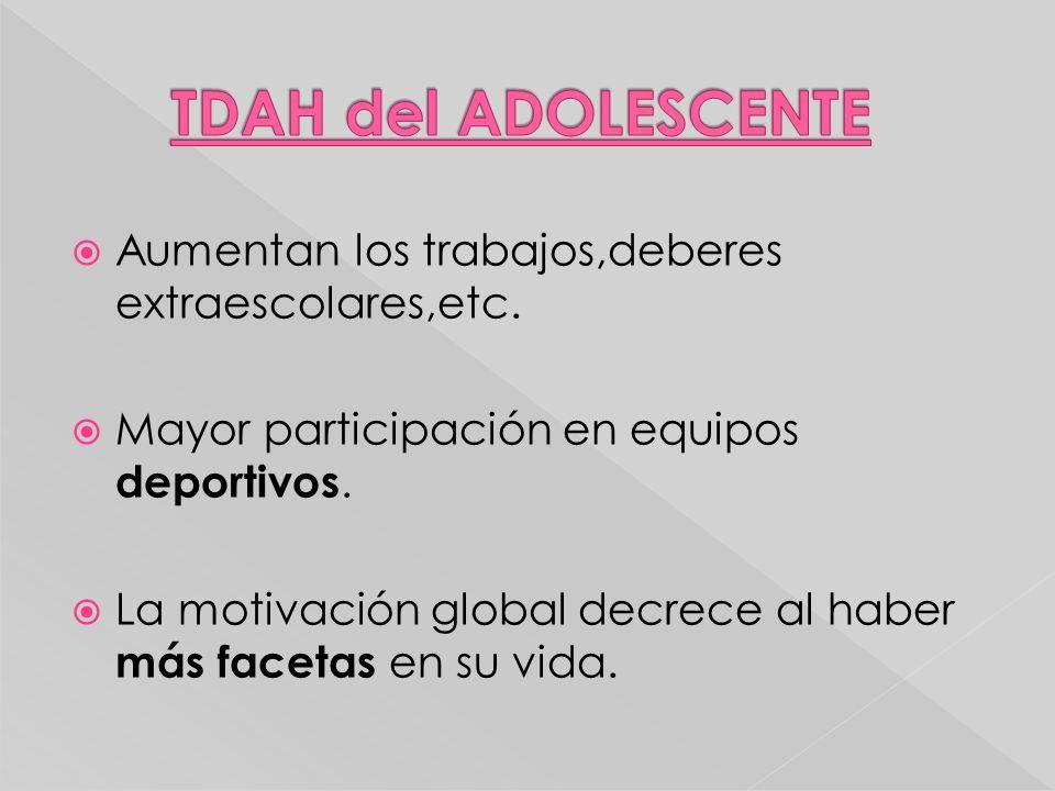TDAH del ADOLESCENTE Aumentan los trabajos,deberes extraescolares,etc.