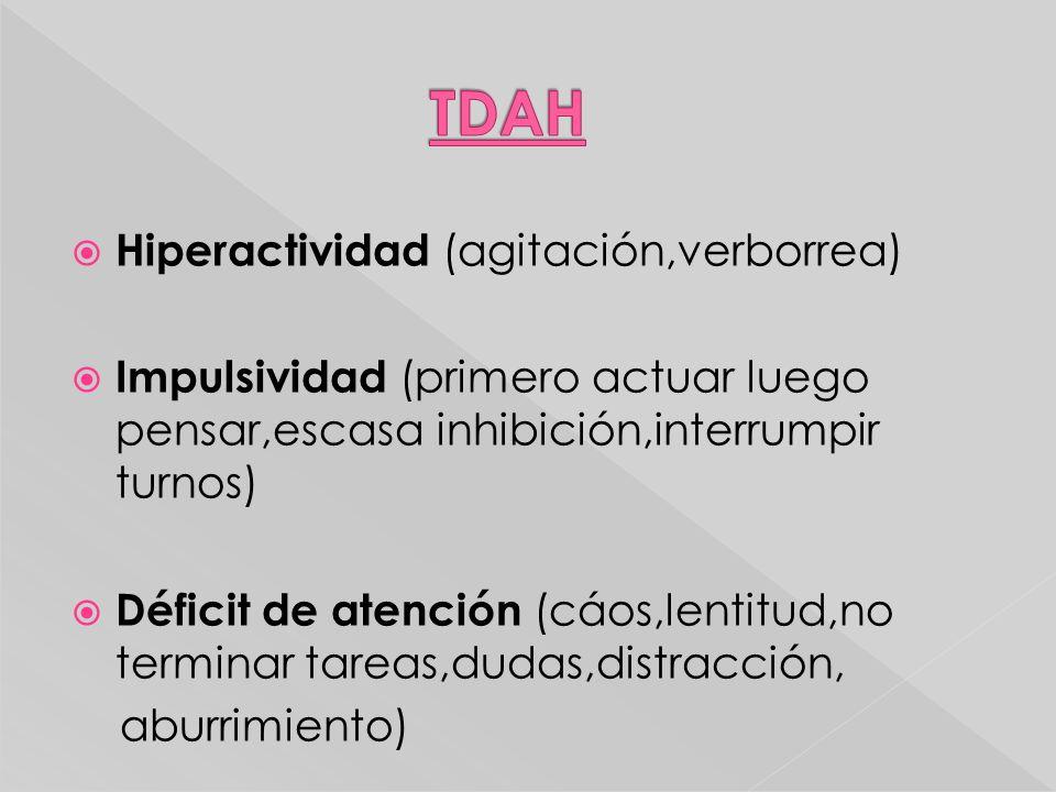TDAH Hiperactividad (agitación,verborrea)