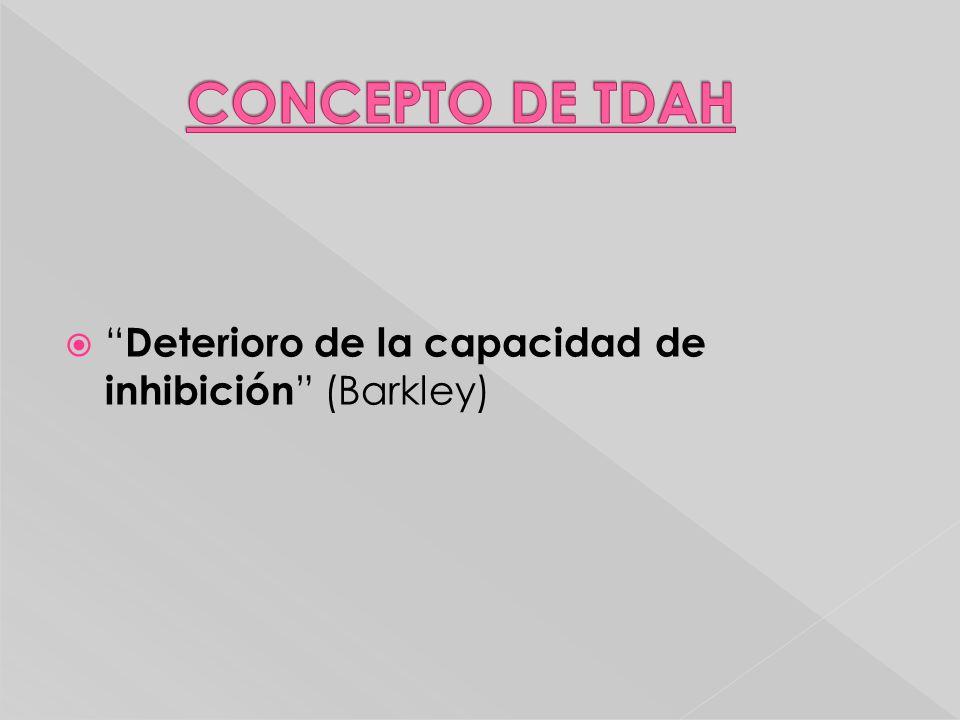 CONCEPTO DE TDAH Deterioro de la capacidad de inhibición (Barkley)