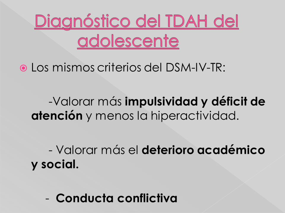 Diagnóstico del TDAH del adolescente