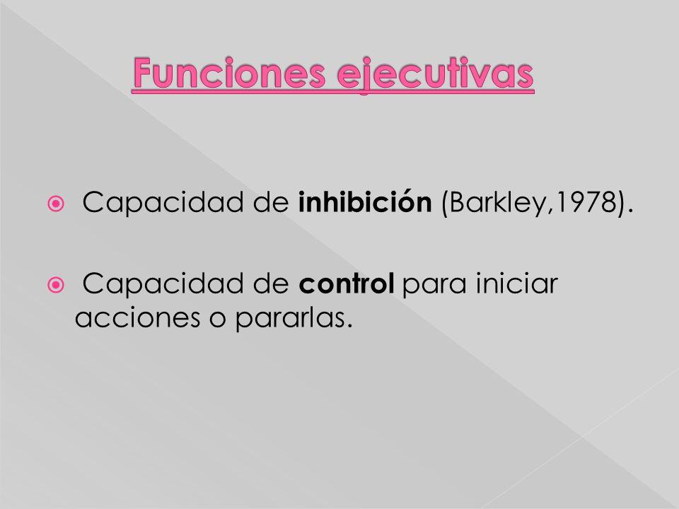 Funciones ejecutivas Capacidad de inhibición (Barkley,1978).