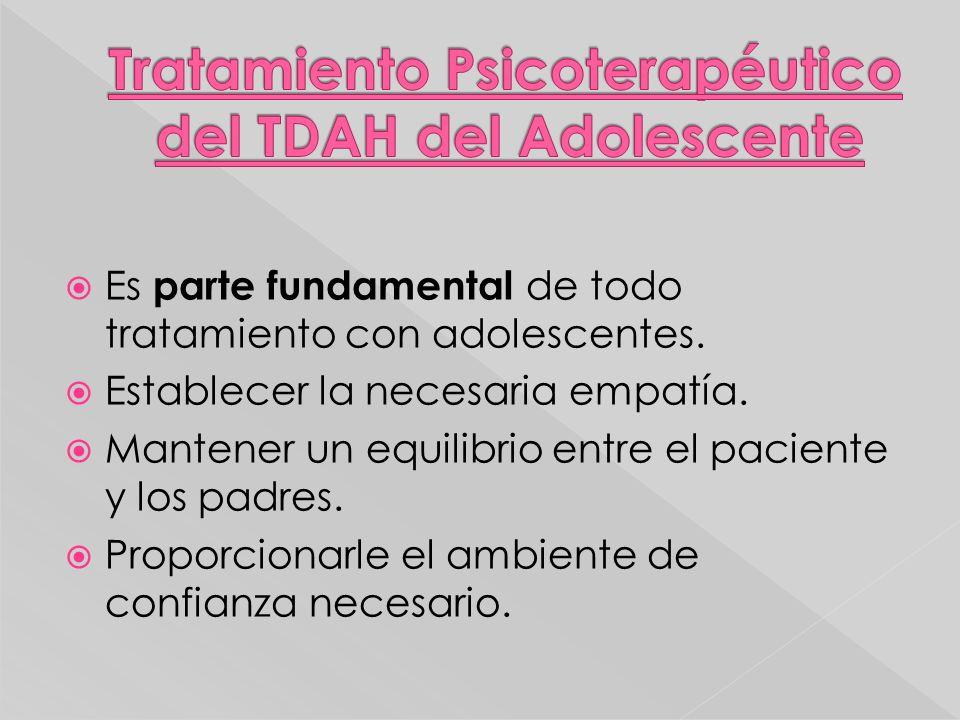 Tratamiento Psicoterapéutico del TDAH del Adolescente