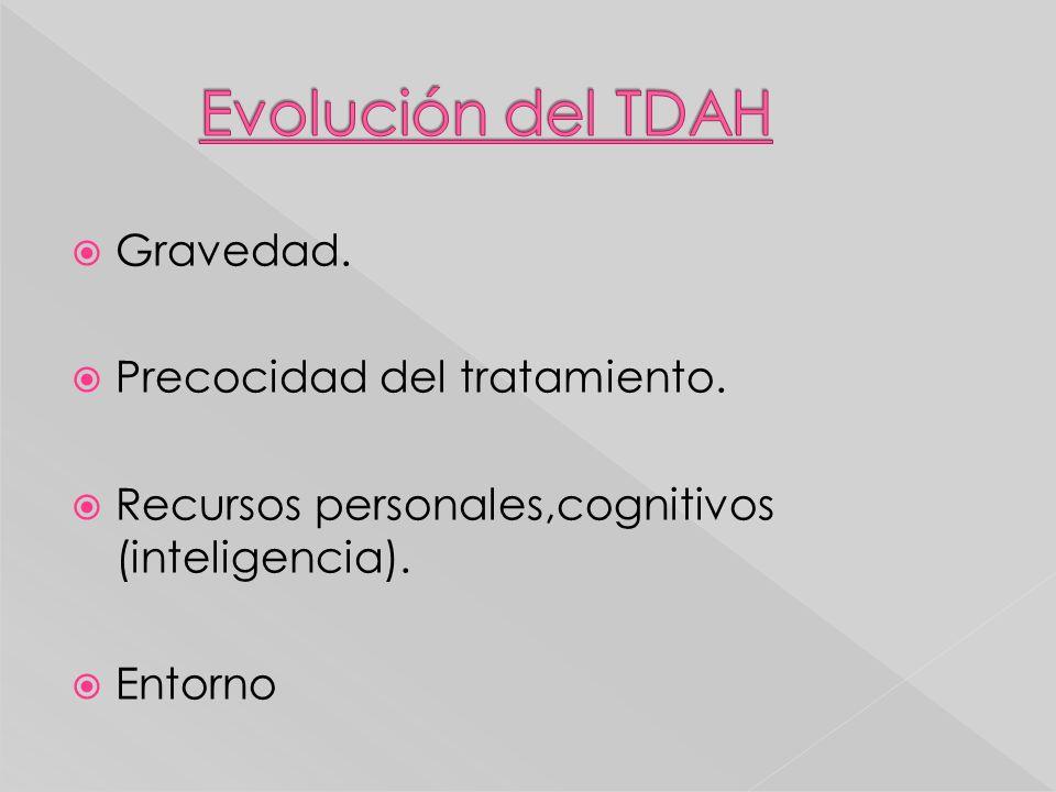 Evolución del TDAH Gravedad. Precocidad del tratamiento.
