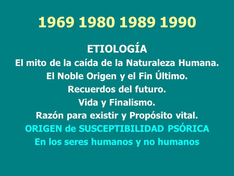 1969 1980 1989 1990 ETIOLOGÍA. El mito de la caída de la Naturaleza Humana. El Noble Origen y el Fin Último.