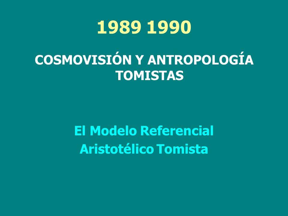 COSMOVISIÓN Y ANTROPOLOGÍA TOMISTAS