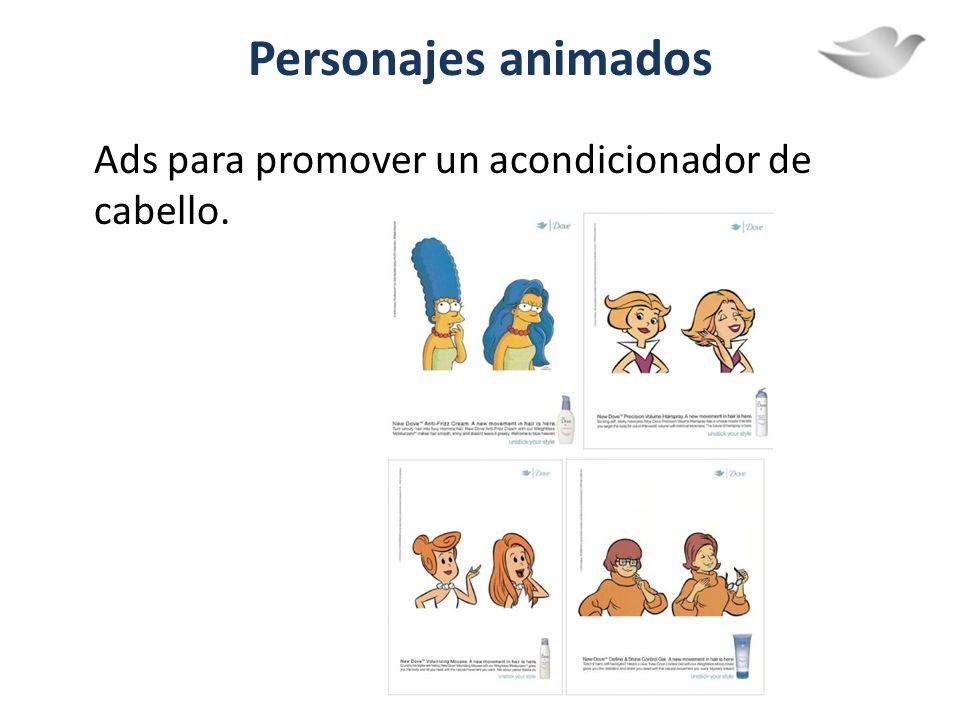 Personajes animados Ads para promover un acondicionador de cabello.