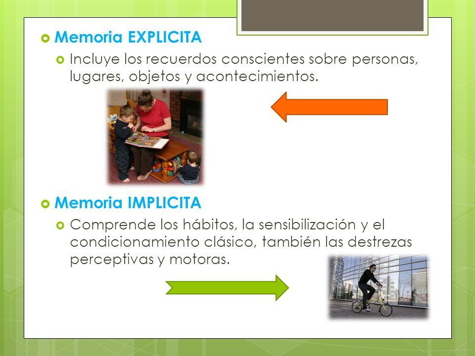 Memoria EXPLICITA Memoria IMPLICITA
