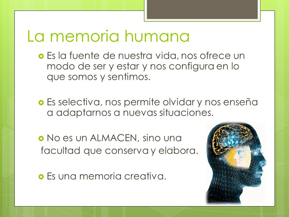 La memoria humana Es la fuente de nuestra vida, nos ofrece un modo de ser y estar y nos configura en lo que somos y sentimos.