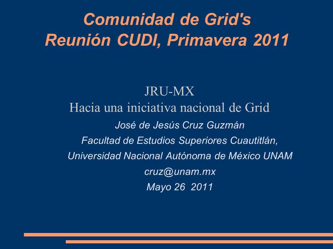 Comunidad de Grid s Reunión CUDI, Primavera 2011