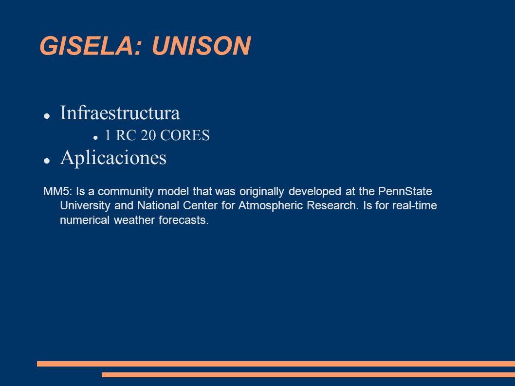 GISELA: UNISON Infraestructura Aplicaciones 1 RC 20 CORES