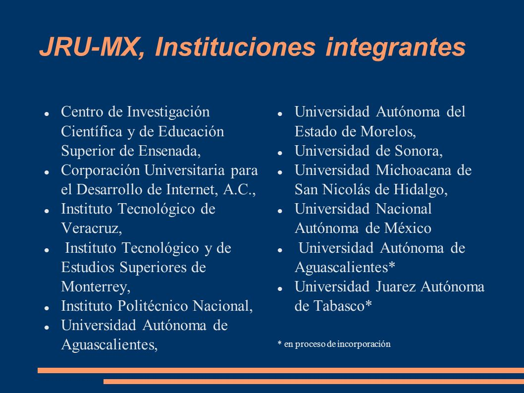 JRU-MX, Instituciones integrantes