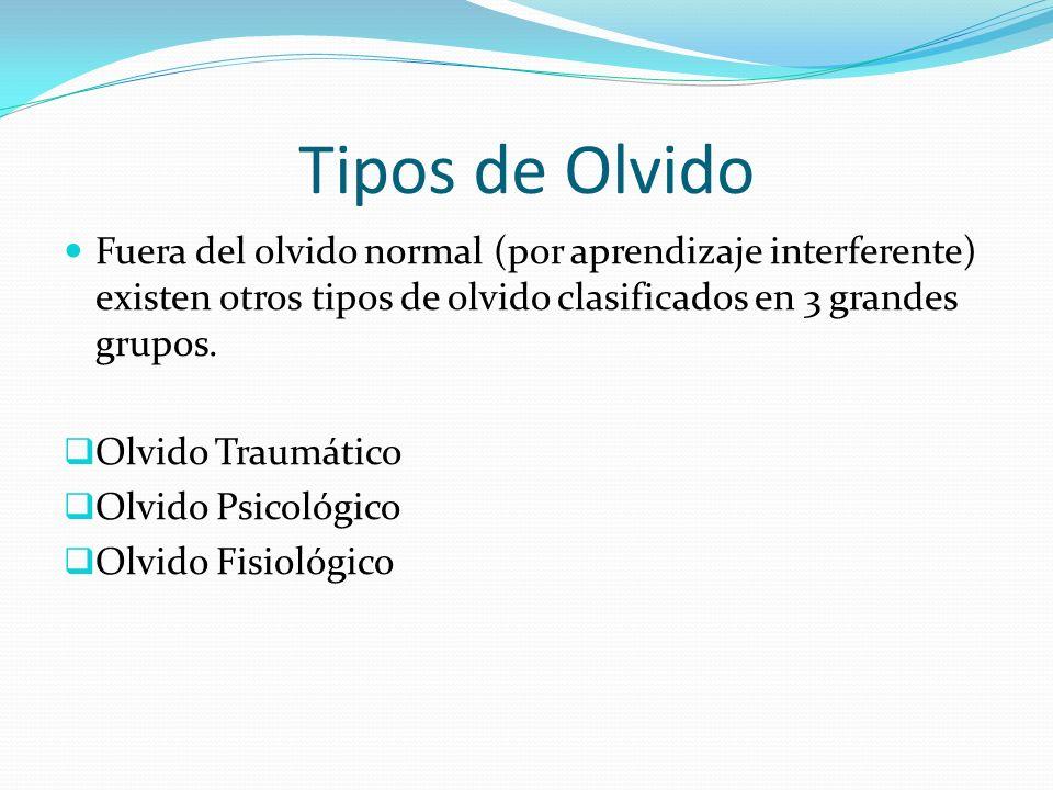Tipos de Olvido Fuera del olvido normal (por aprendizaje interferente) existen otros tipos de olvido clasificados en 3 grandes grupos.