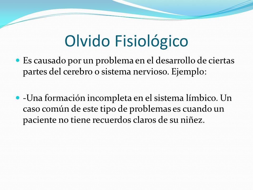 Olvido Fisiológico Es causado por un problema en el desarrollo de ciertas partes del cerebro o sistema nervioso. Ejemplo: