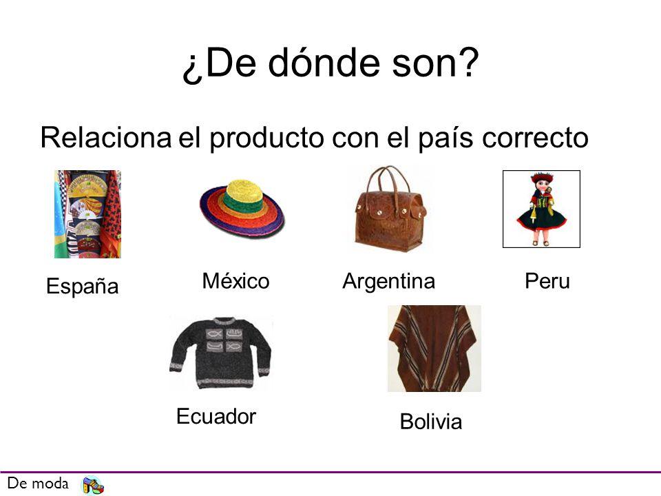¿De dónde son Relaciona el producto con el país correcto México
