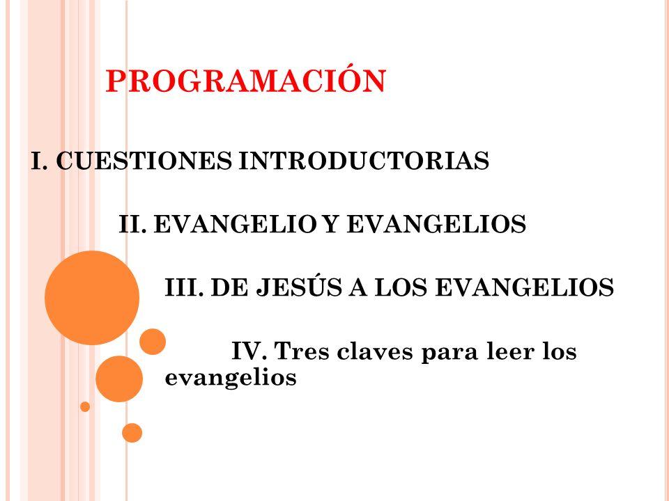 programación I. CUESTIONES INTRODUCTORIAS II. EVANGELIO Y EVANGELIOS