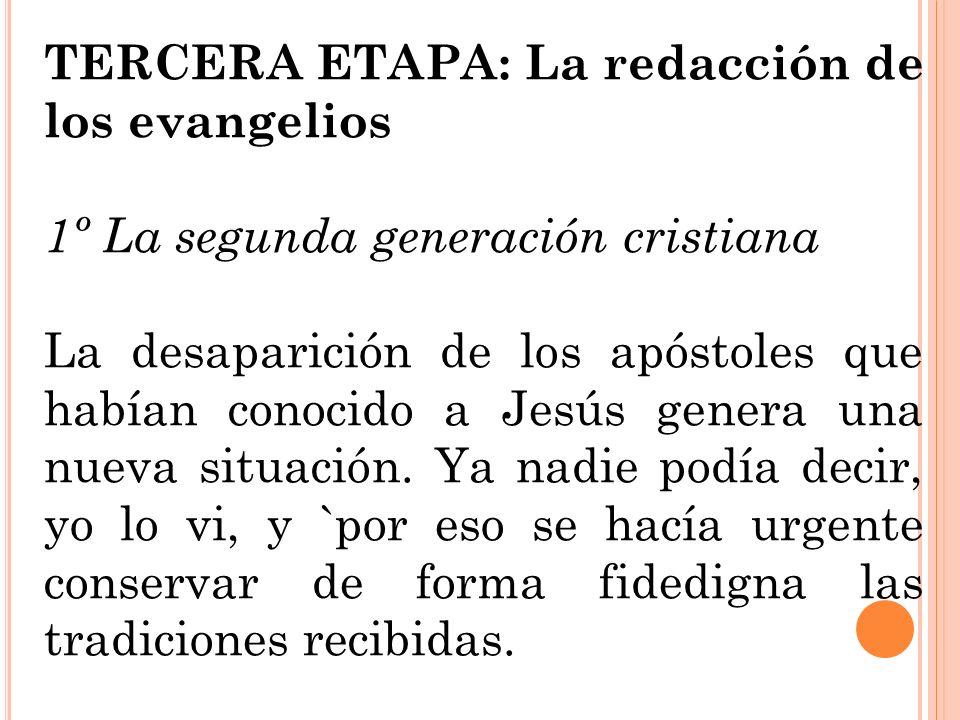 TERCERA ETAPA: La redacción de los evangelios