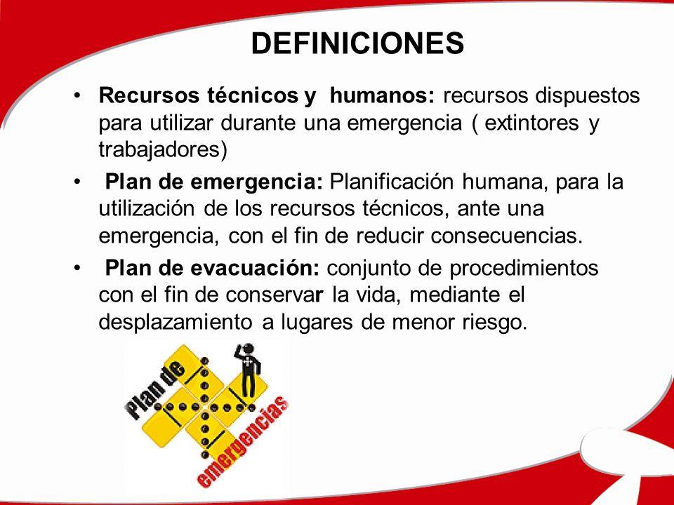DEFINICIONES Recursos técnicos y humanos: recursos dispuestos para utilizar durante una emergencia ( extintores y trabajadores)