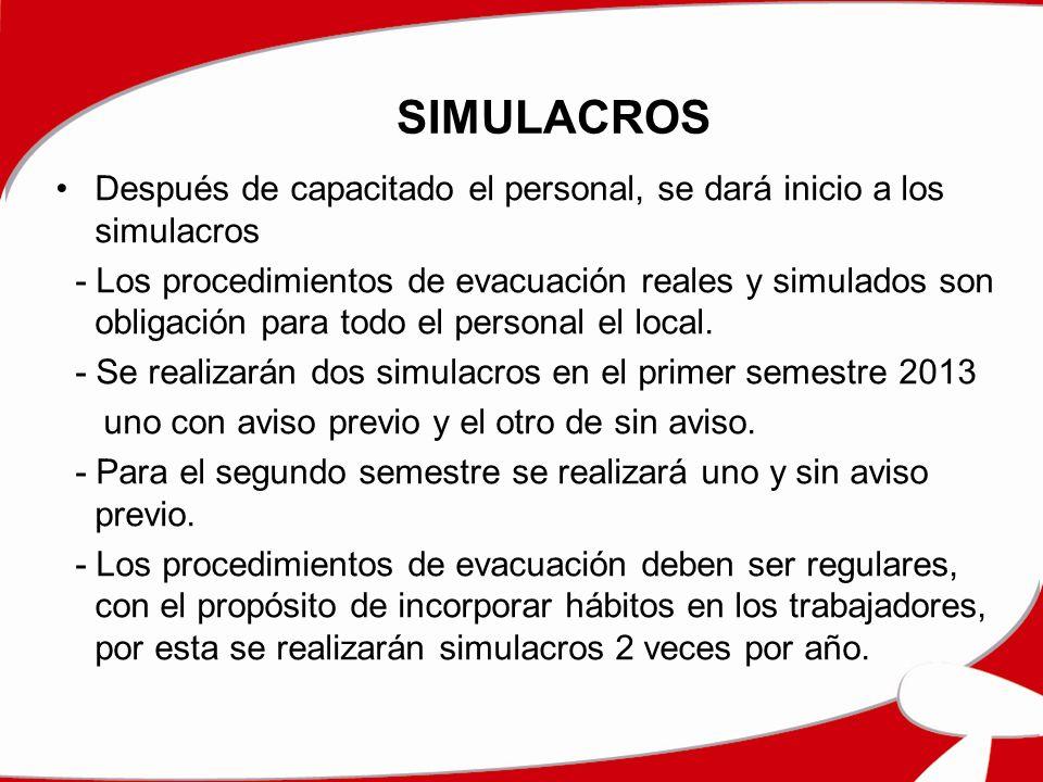 SIMULACROS Después de capacitado el personal, se dará inicio a los simulacros.