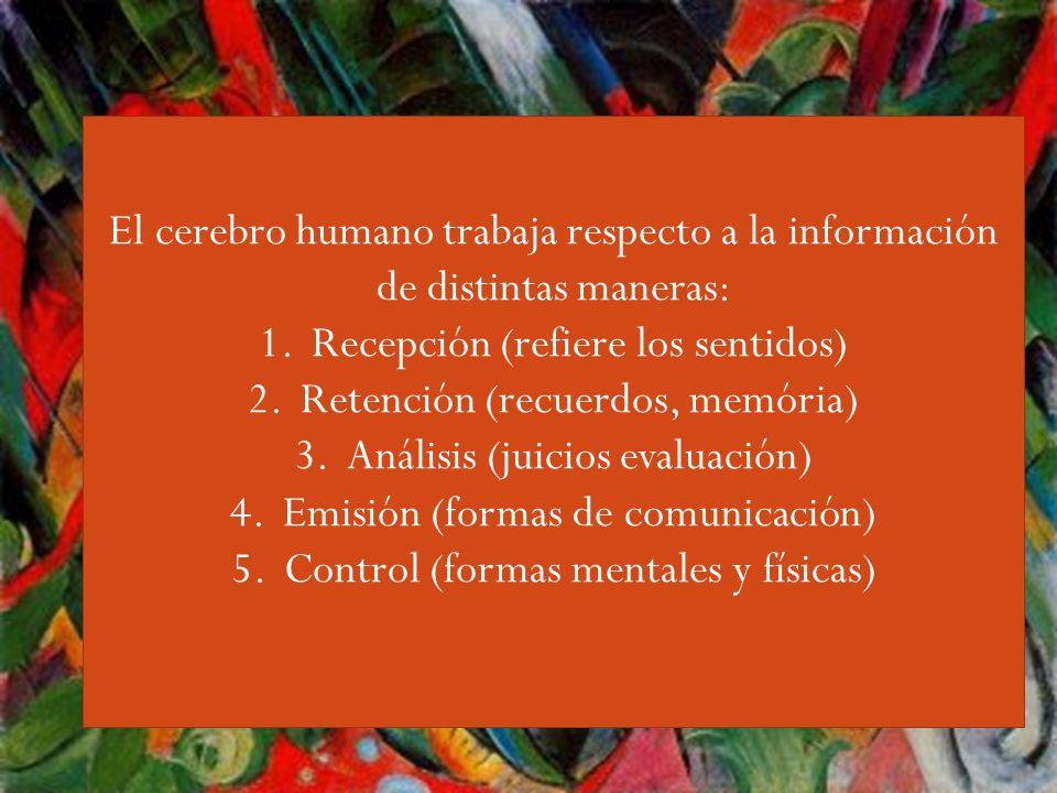 Guiri,,,, El cerebro humano trabaja respecto a la información de distintas maneras: Recepción (refiere los sentidos)
