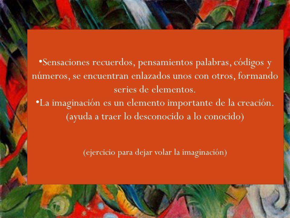 Guiri,,,, Sensaciones recuerdos, pensamientos palabras, códigos y números, se encuentran enlazados unos con otros, formando series de elementos.