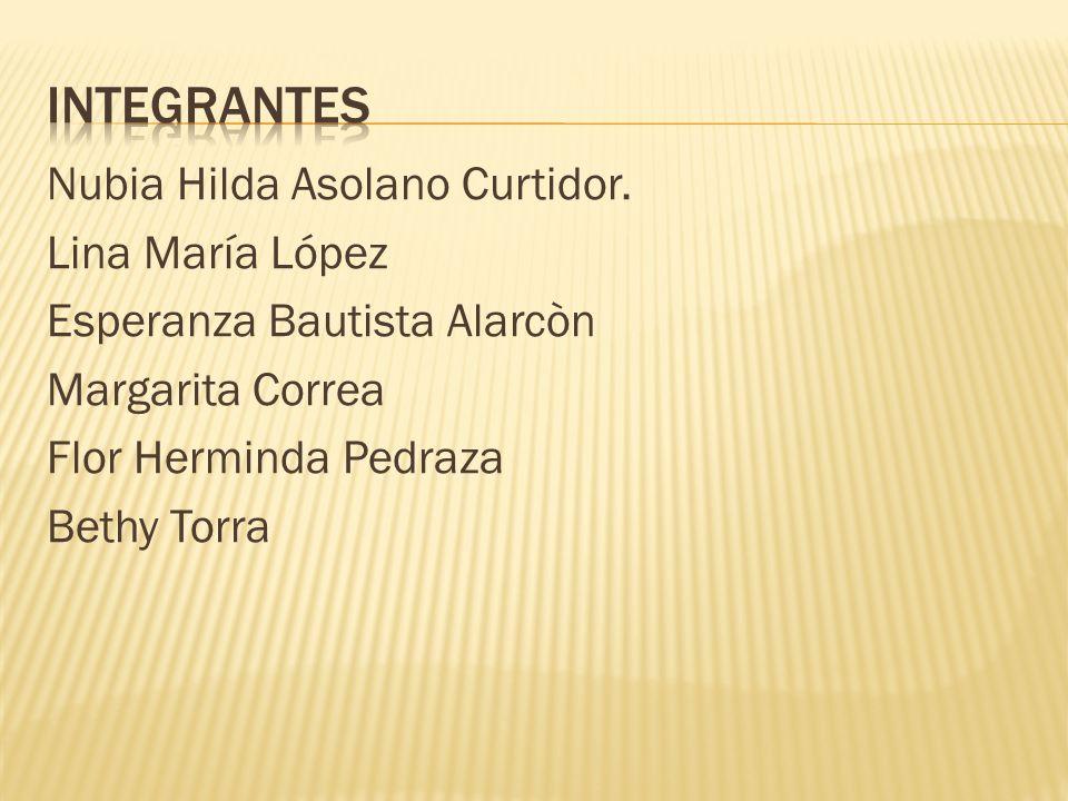 Integrantes Nubia Hilda Asolano Curtidor.