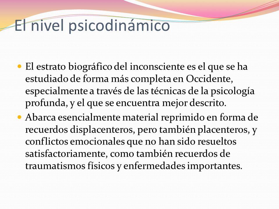 El nivel psicodinámico