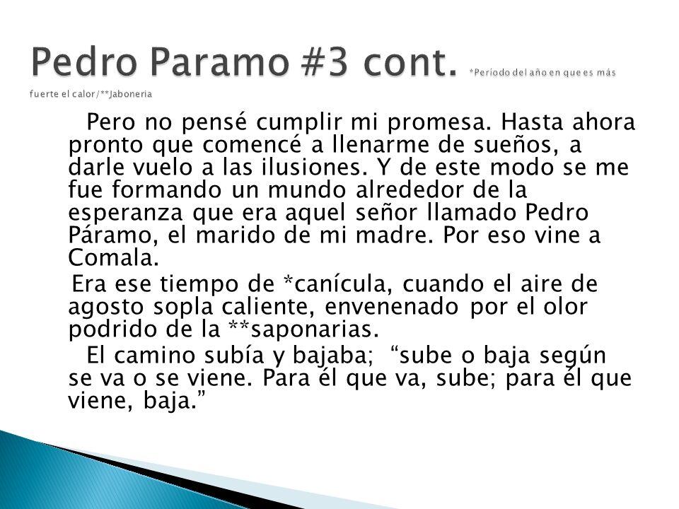 Pedro Paramo #3 cont. Período del año en que es más fuerte el calor/