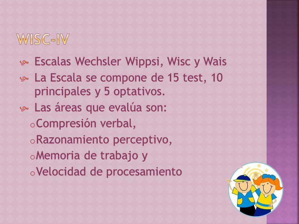 WISC-IV Escalas Wechsler Wippsi, Wisc y Wais