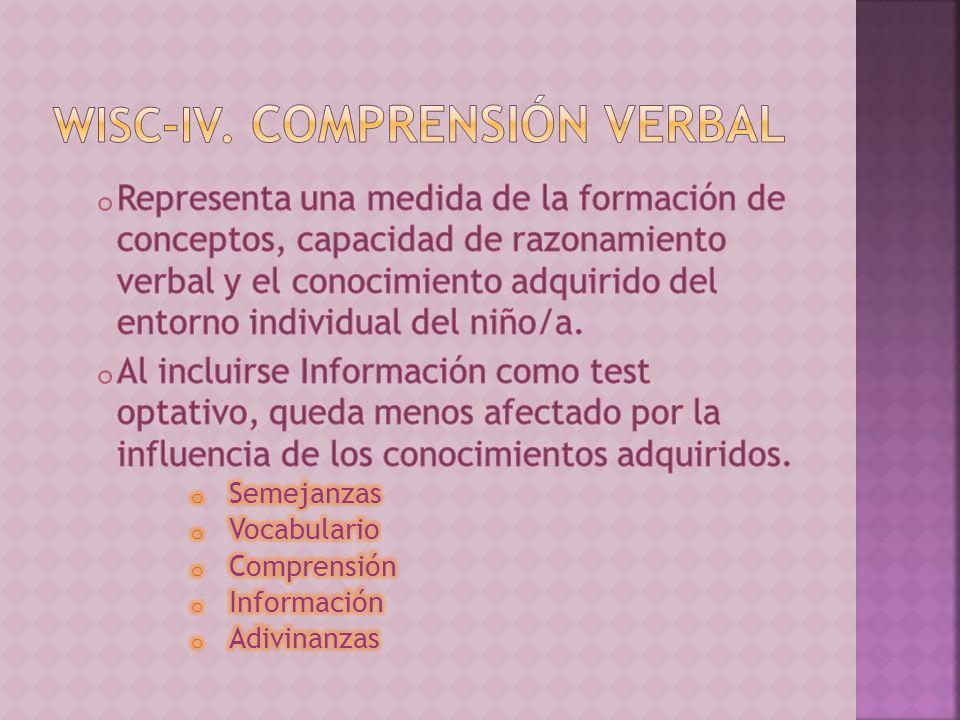 WISC-IV. Comprensión Verbal