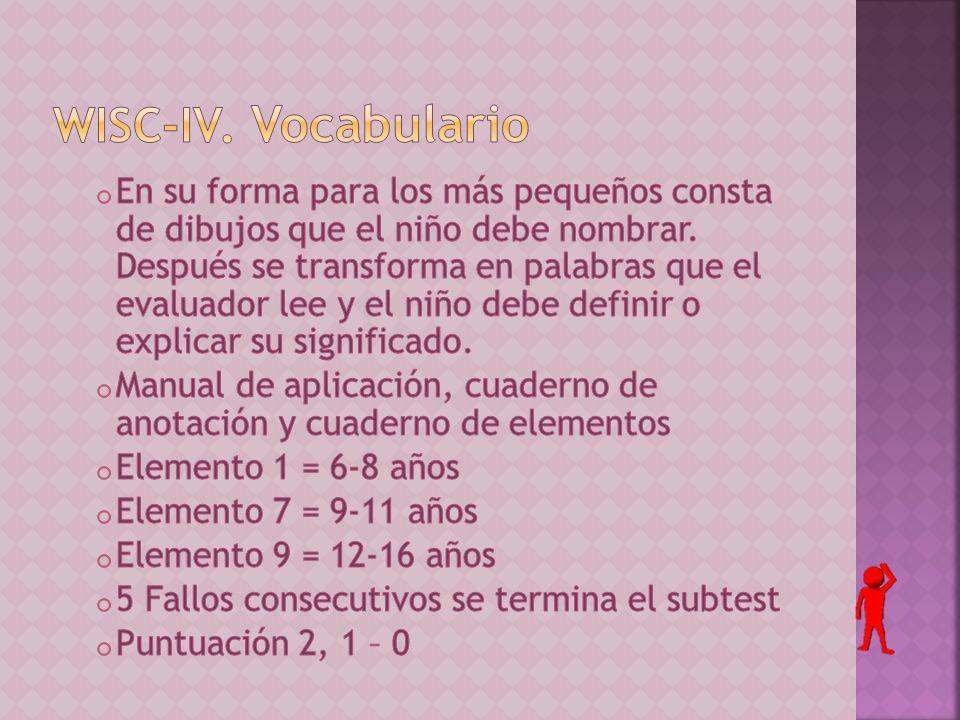 WISC-IV. Vocabulario
