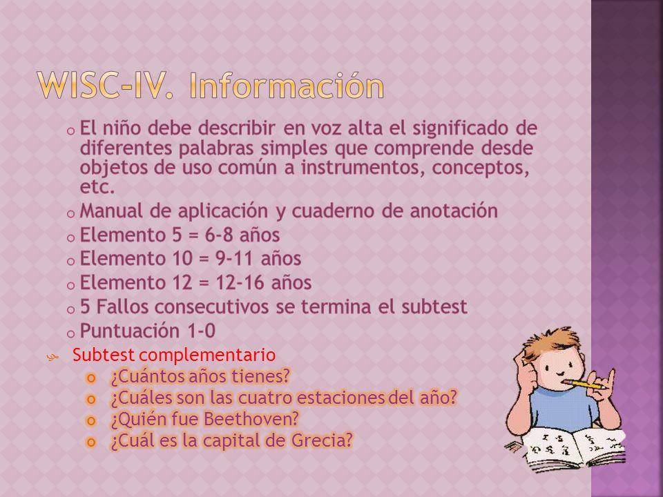 WISC-IV. Información
