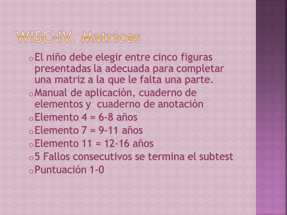 WISC-IV. Matrices El niño debe elegir entre cinco figuras presentadas la adecuada para completar una matriz a la que le falta una parte.