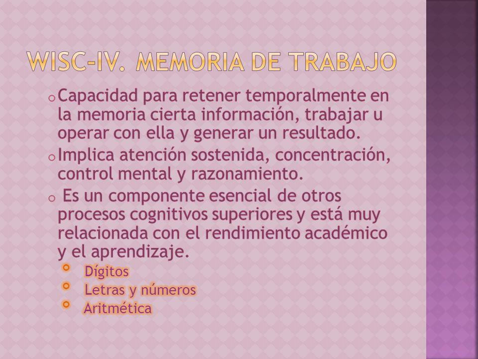 WISC-IV. Memoria de trabajo