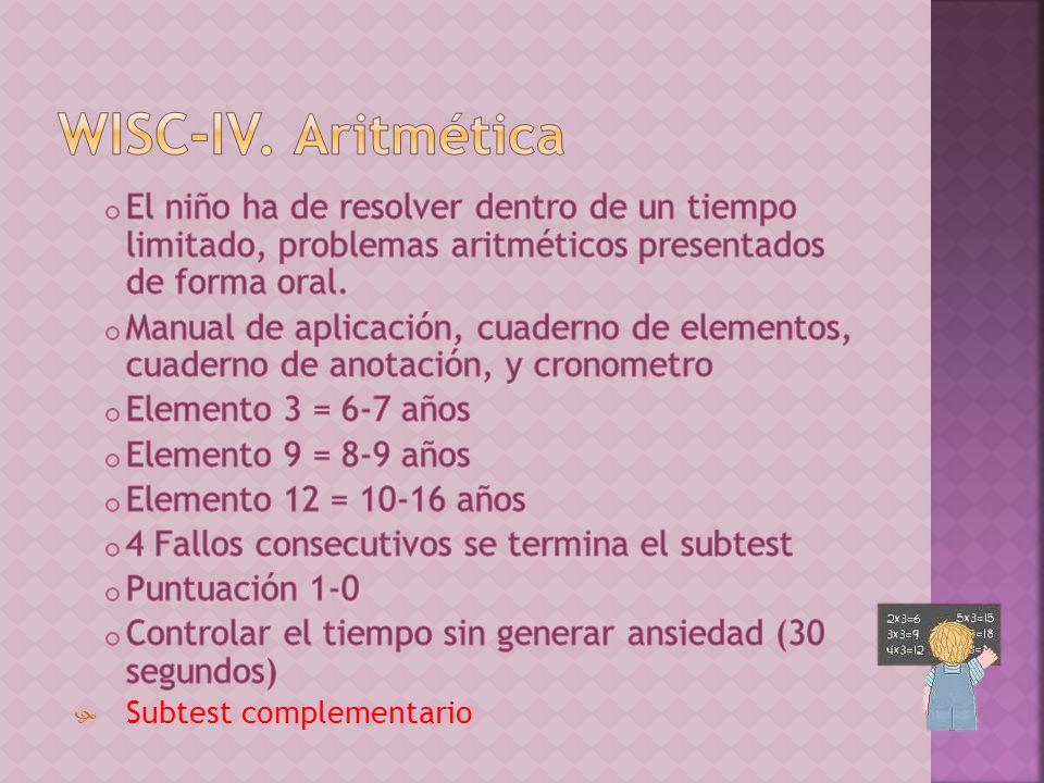 WISC-IV. Aritmética El niño ha de resolver dentro de un tiempo limitado, problemas aritméticos presentados de forma oral.