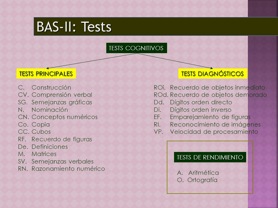 BAS-II: Tests TESTS COGNITIVOS TESTS PRINCIPALES TESTS DIAGNÓSTICOS